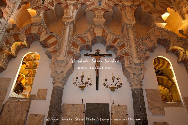 Statue of the crucifixion inside the Villaviciosa chapel in the Catedral de Cordoba, a former medieval mosque, Cordoba, Andalusia, Spain.
