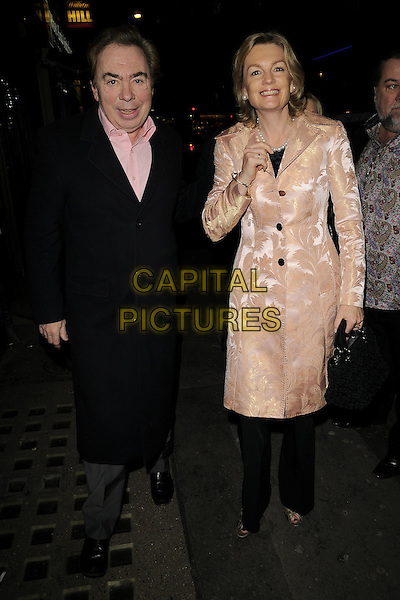 """LORD ANDREW LLOYD WEBBER & MADELINE LLOYD WEBBER.The """"Sunset Boulevard"""" press night, Comedy Theatre, Panton Street, London, England..December 15th, 2008.full length blue coat jacket brown cream pattern married husband wife weber .CAP/CAN.©Can Nguyen/Capital Pictures."""