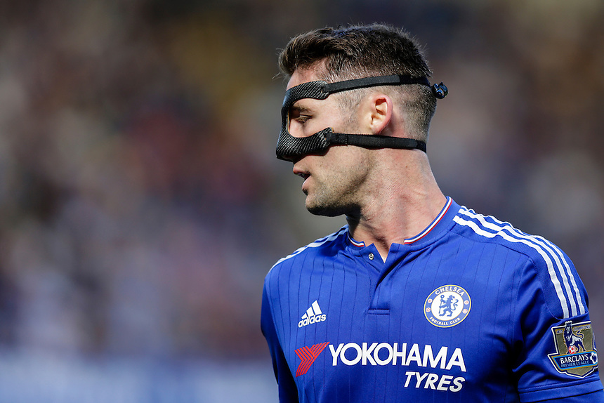 Chelsea's Gary Cahill wearing a protective mask<br /> <br /> Photographer Craig Mercer/CameraSport<br /> <br /> Football - Barclays Premiership - Chelsea v Arsenal - Saturday 19th September 2015 - Stamford Bridge - London<br /> <br /> &copy; CameraSport - 43 Linden Ave. Countesthorpe. Leicester. England. LE8 5PG - Tel: +44 (0) 116 277 4147 - admin@camerasport.com - www.camerasport.com