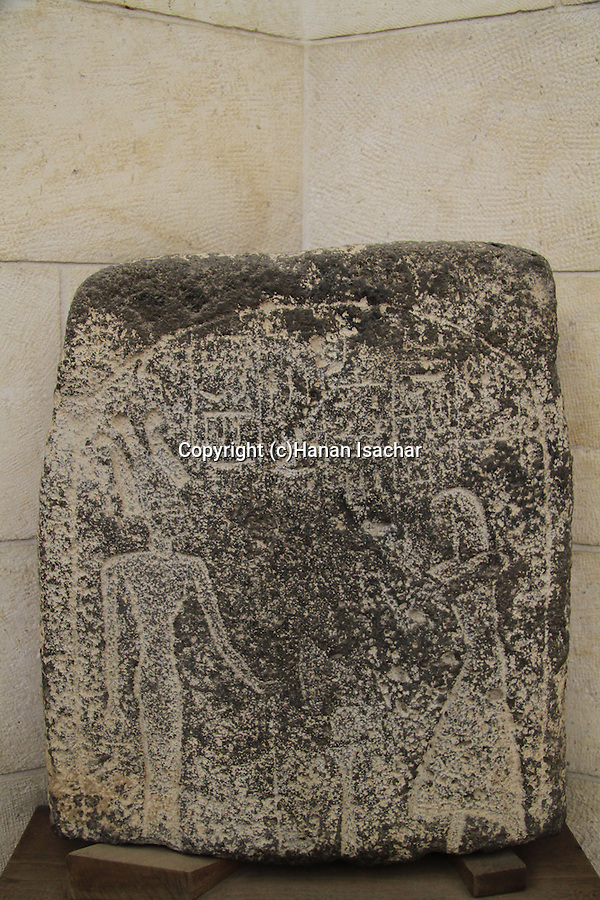 Stele of the goddess Anat from Beth Shean, 12th century BC, basalt, on display at the Rockefeller Museum