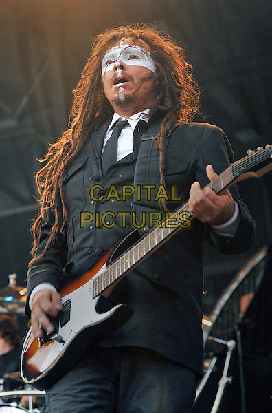 "KORN.Guitarist JAMES ""MUNKY"" SHAFFER of the band KORN performs as part of the Rock On The Range festival held at Columbus Crew Stadium, Columbus, Ohio, USA..May 21st, 2011        .stage concert live gig performance music half length guitar black suit white make-up                  .CAP/ADM/JN.©Jason L Nelson/AdMedia/Capital Pictures."