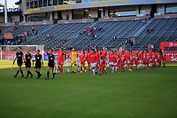 CARSON, CA - FEBRUARY 07: The Women's national teams of Canada and Costa Rica walk out onto the pitch during a game between Canada and Costa Rica at Dignity Health Sports Park on February 07, 2020 in Carson, California.