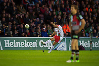 Julien Peyrelongue of Biarritz Olympique takes a penalty kick as Nick Evans of Harlequins looks on during the Heineken Cup match between Harlequins and Biarritz Olympique Pays Basque at the Twickenham Stoop on Saturday 13th October 2012 (Photo by Rob Munro)