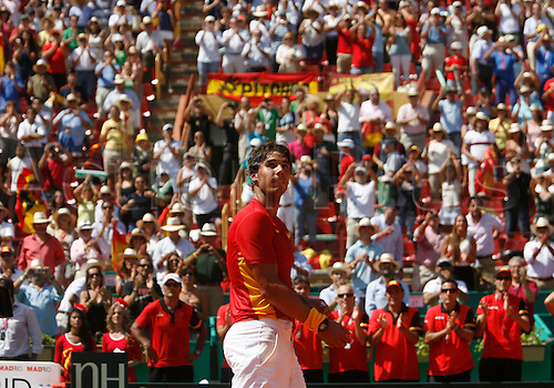 16.09.2011. Cordoba, Spain. Davis Cup tennis match. Spain versus France.  Rafel Nadal in his singles match