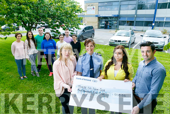 Students and Staff  of KCFE, Presented a cheque  to the No Name Club Tralee for €500 the proceeds of a Colour Fun Run Day t held recently in the college. Pictured  front Carmel Kelly, Acting Principal, Garda Patricia Fitzpatrick, Michaela Brosnan, No Name Club, Garda Aidan O'Mahony, Back l-r Brenda McEvoy, Emma Hayes, Kieran O'Sullivan Laura Twiss, Manuela Agner, Robert Condon Anna Loczac
