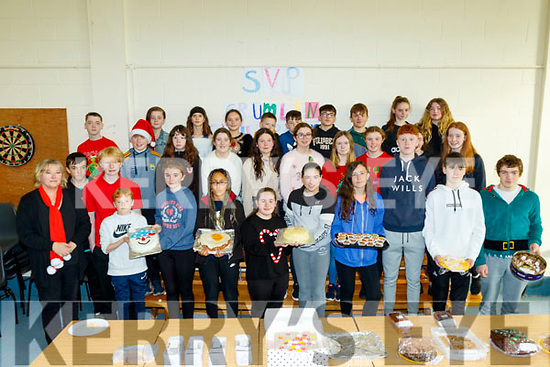 Teacher Gemma Donovan, far left, with 1st year students of Castlegregory secondary school at their annual Christmas cake sale last Friday Dec 6 in aid of St Vincent De Paul and Crumlin childrens hospital.