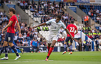 Marcus Rashford (Manchester United) celebrates his goal during the International EURO U21 QUALIFYING - GROUP 9 match between England U21 and Norway U21 at the Weston Homes Community Stadium, Colchester, England on 6 September 2016. Photo by Andy Rowland / PRiME Media Images.