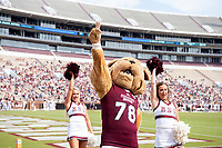 Costume Bully mascot cheering the team on.<br />  (photo by Beth Wynn / &copy; Mississippi State University)