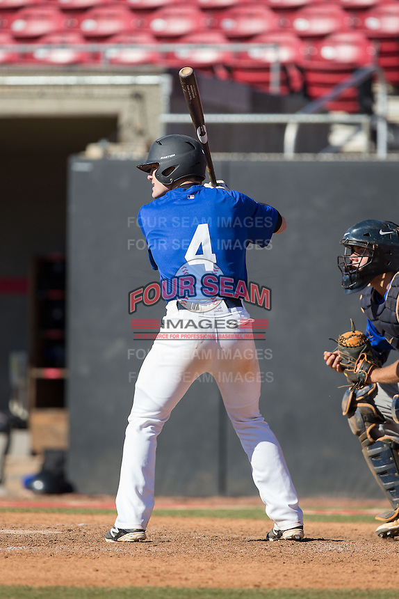 Willie Burger (4) of Lancaster Catholic High School in Lancaster, Pennsylvania playing for the Texas Rangers scout team at the South Atlantic Border Battle at Doak Field on November 2, 2014.  (Brian Westerholt/Four Seam Images)