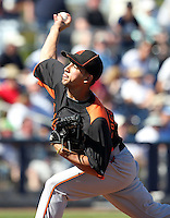 Baltimore Orioles pitcher Miguel Socolovich #81 delivers a pitch during a spring training game against the Tampa Bay Rays at the Charlotte County Sports Park on March 5, 2012 in Port Charlotte, Florida.  (Mike Janes/Four Seam Images)