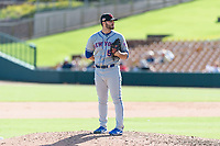 Scottsdale Scorpions relief pitcher Joe Zanghi (54), of the New York Mets organization, looks in for the sign during an Arizona Fall League game against the Glendale Desert Dogs at Camelback Ranch on October 16, 2018 in Glendale, Arizona. Scottsdale defeated Glendale 6-1. (Zachary Lucy/Four Seam Images)