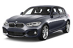 2015 BMW 1 Series M Sport 5 Door Hatchback Angular Front stock photos of front three quarter view