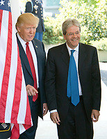 United States President Donald J. Trump welcomes Prime Minister Paolo Gentiloni of Italy to the White House in Washington, DC on Thursday, April 20, 2017.<br /> Credit: Ron Sachs / CNP