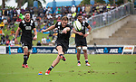 Marty McKenzie kicks. Maori All Blacks vs. Fiji. Suva. MAB's won 27-26. July 11, 2015. Photo: Marc Weakley