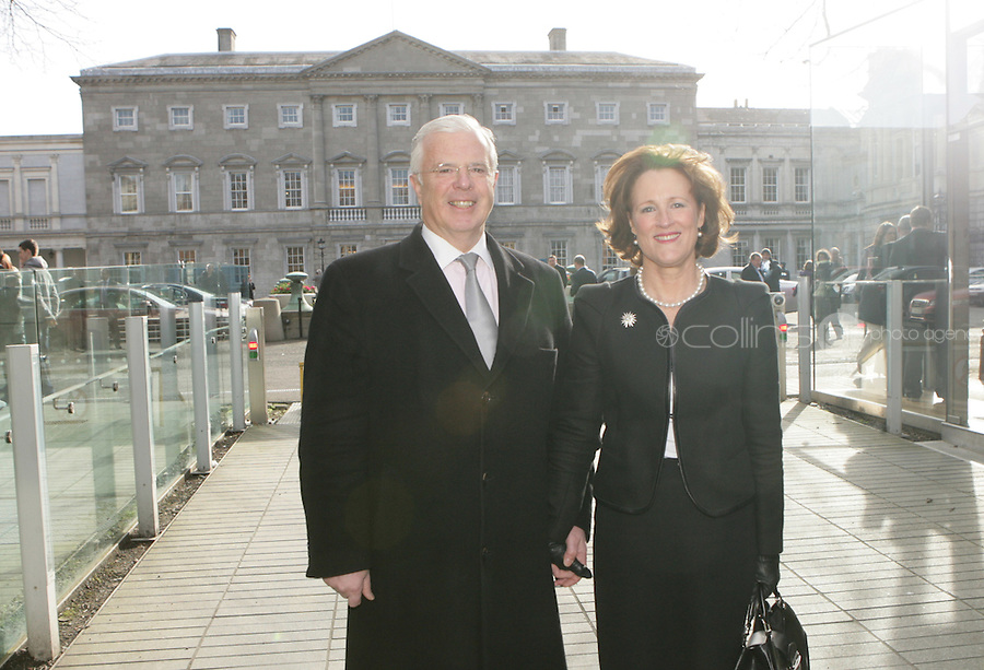09/03/2011.Fine Gael TD Peter Mathews & wife Susan Mathews.during the 1st day of the 31st Dail.at Leinster House,  Dublin..Photo: Gareth Chaney Collins