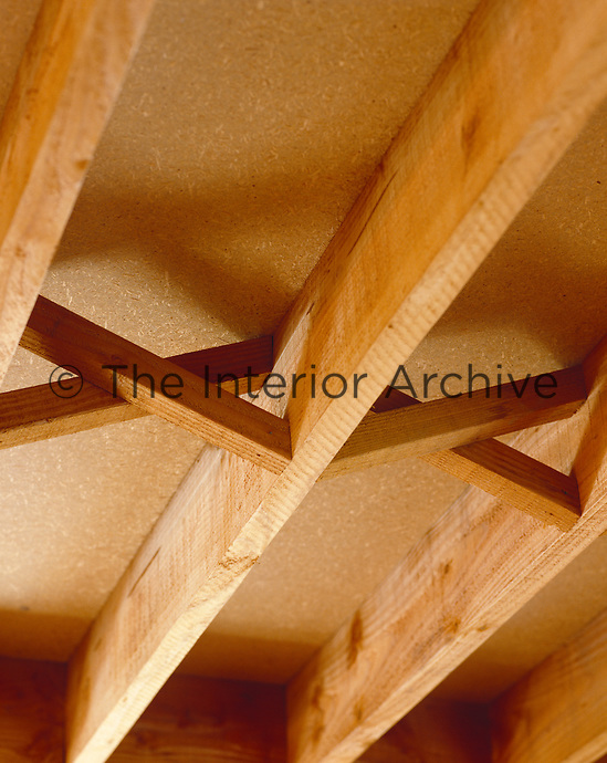 A detail of the exposed ceiling joists used throughout the house