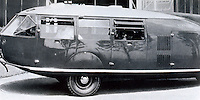 R. Buckminster Fuller: Dymaxion Car No. 3. Chicago World's Fair, 1934.  Photo '77.