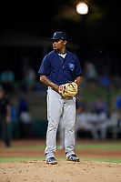 Mobile BayBears relief pitcher Adrian Almeida (37) during a Southern League game against the Jacksonville Jumbo Shrimp on May 28, 2019 at Baseball Grounds of Jacksonville in Jacksonville, Florida.  Mobile defeated Jacksonville 2-1.  (Mike Janes/Four Seam Images)