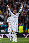 Sergio Ramos of Real Madrid celebrates after the UEFA Champions League Semi-final 2nd leg match between Real Madrid and Bayern Munich at the Estadio Santiago Bernabeu on May 01 2018 in Madrid, Spain. Photo by Diego Souto / Power Sport Images