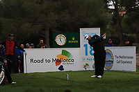 Jack Senior (ENG) on the 18th tee during Round 4 of the Challenge Tour Grand Final 2019 at Club de Golf Alcanada, Port d'Alcúdia, Mallorca, Spain on Sunday 10th November 2019.<br /> Picture:  Thos Caffrey / Golffile<br /> <br /> All photo usage must carry mandatory copyright credit (© Golffile | Thos Caffrey)