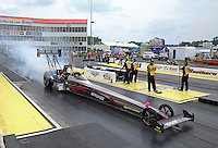 May 10, 2013; Commerce, GA, USA: NHRA top fuel dragster driver Leah Pruett during qualifying for the Southern Nationals at Atlanta Dragway. Mandatory Credit: Mark J. Rebilas-