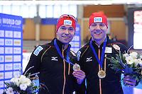 SCHAATSEN: BERLIJN: Sportforum Berlin, 06-12-2014, ISU World Cup, Podium 1000m Men Division A, Samuel Schwarz (GER), Nico Ihle (GER), ©foto Martin de Jong