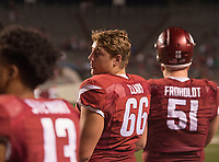 Hawgs Illustrated/BEN GOFF <br /> Ty Clary, Arkansas offensive lineman, watches from the sidelines in the 4th quarter against Florida A&M Thursday, Aug. 31, 2017, during the game at War Memorial Stadium in Little Rock.