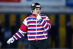 Stockholm 2013-02-10 Bandy Elitserien , Hammarby IF - IFK Vänersborg :  .Domare Juha-Matti Kanniainen pratar i headset i samband med en utvisning.(Byline: Foto: Kenta Jönsson) Nyckelord:  porträtt portrait