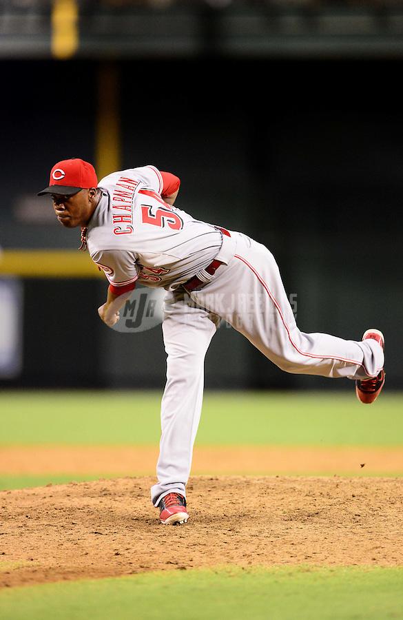 Aug. 28, 2012; Phoenix, AZ, USA: Cincinnati Reds pitcher Aroldis Chapman against the Arizona Diamondbacks at Chase Field. Mandatory Credit: Mark J. Rebilas-