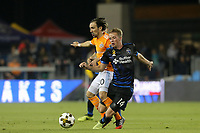 San Jose, CA - Saturday September 16, 2017: Vicente Sánchez, Jackson Yueill during a Major League Soccer (MLS) match between the San Jose Earthquakes and the Houston Dynamo at Avaya Stadium.