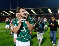 Photo: Richard Lane/Richard Lane Photography. .Barbarians v Ireland. The Gartmore Challenge. 27/05/2008. Ireland's Tommy Bowe applauds the fans.