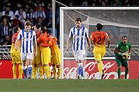 FC Barcelona's players celebrate goal in presence of Real Sociedad's Asier Illarramendi (l), Inigo Martinez and Claudio Bravo (r) during La Liga match.January 19,2013. (ALTERPHOTOS/Acero) /NortePhoto
