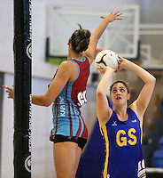 29.09.2014 Dunedin's Te Paea Selby-Rickit in action during the Dunedin v Kapi Mana match duing the Lion Foundation Netball Champs at the Trusts Stadium in Auckland. Mandatory Photo Credit ©Michael Bradley.