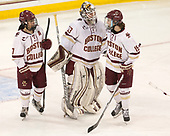 Kristyn Capizzano (BC - 7), Katie Burt (BC - 33), Makenna Newkirk (BC - 19) - The number one seeded Boston College Eagles defeated the eight seeded Merrimack College Warriors 1-0 to sweep their Hockey East quarterfinal series on Friday, February 24, 2017, at Kelley Rink in Conte Forum in Chestnut Hill, Massachusetts.The number one seeded Boston College Eagles defeated the eight seeded Merrimack College Warriors 1-0 to sweep their Hockey East quarterfinal series on Friday, February 24, 2017, at Kelley Rink in Conte Forum in Chestnut Hill, Massachusetts.