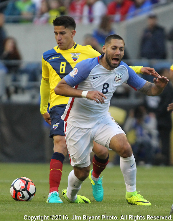 USA Ecuador in a 2016 Copa America Centenario soccer quarterfinals at CenturyLink Field in Seattle, Washington on June 16, 2016.     USA beat Ecuador 2-1 to advance to the semi-finals.    © 2016. Jim Bryant Photo. All Rights Reserved.