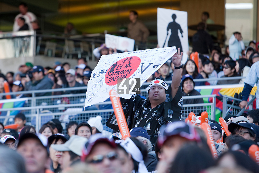 15 March 2009: A fan of Japan sheers for his team against Cuba during the 2009 World Baseball Classic Pool 1 game 1 at Petco Park in San Diego, California, USA. Japan wins 6-0 over Cuba.