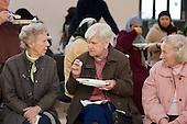 Three elderly women at a Cook and Eat event at Greenside Community Centre, Lisson Green Estate, Marylebone, London