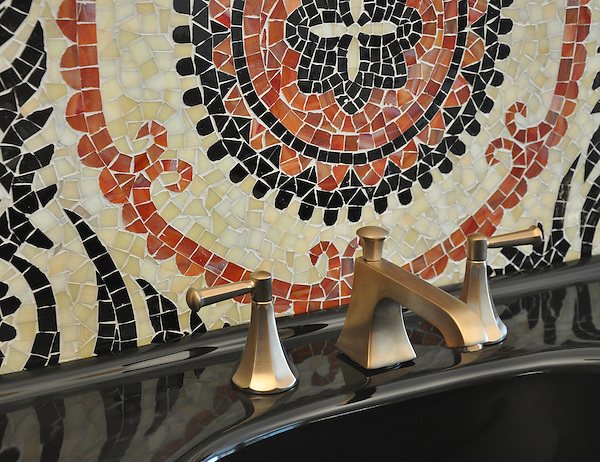 Suzani backsplash design in Obsidian, Agate,and Garnet Glass