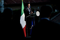 The Italian Premier Giuseppe Conte during a press conference at Casino del Bel Respiro, Villa Pamphili, at the end of the General States of Economy. Rome (Italy), June 21st 2020<br /> Pool Paolo Tre/Insidefoto