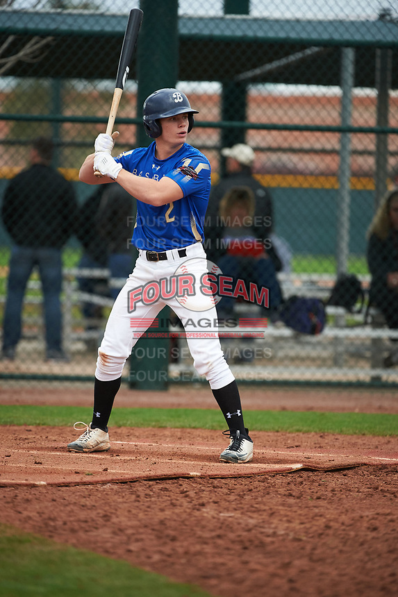 Matt McLain (2) of Beckman High School in Tustin, California during the Under Armour All-American Pre-Season Tournament presented by Baseball Factory on January 15, 2017 at Sloan Park in Mesa, Arizona.  (Art Foxall/MJP/Four Seam Images)
