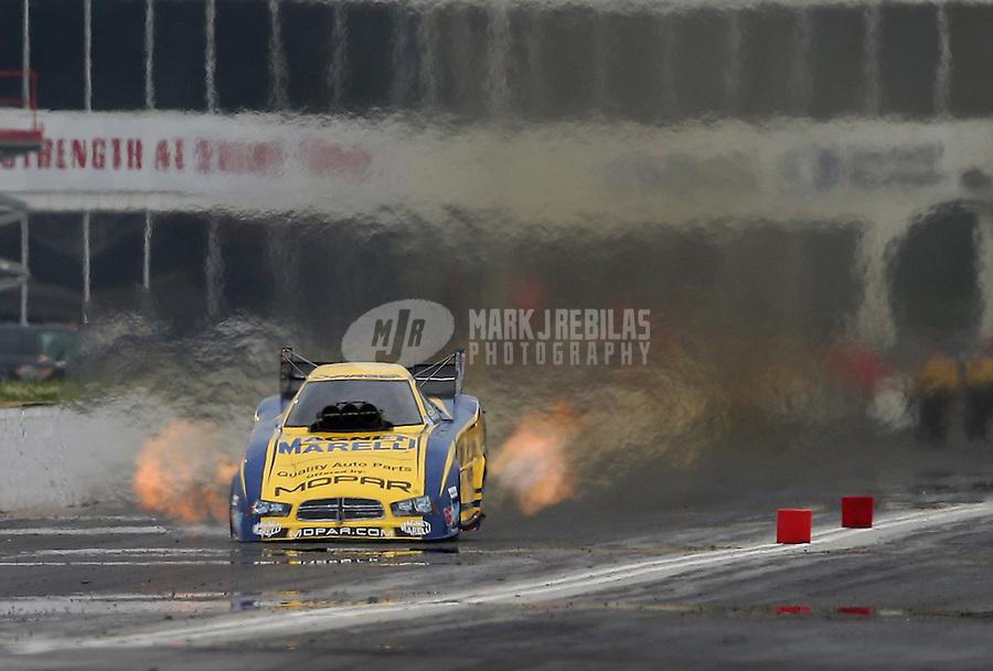 May 10, 2013; Commerce, GA, USA: NHRA funny car driver Matt Hagan during qualifying for the Southern Nationals at Atlanta Dragway. Mandatory Credit: Mark J. Rebilas-