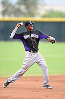 Colorado Rockies shortstop Luis Jean (60) during an Instructional League game against the Arizona Diamondbacks on October 8, 2014 at Salt River Fields at Talking Stick in Scottsdale, Arizona.  (Mike Janes/Four Seam Images)