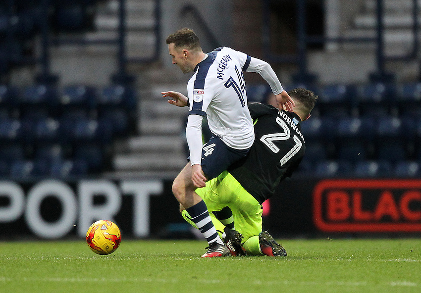 Preston North End's Aidan McGeady battles with  Brighton &amp; Hove Albion's Oliver Norwood<br /> <br /> Photographer Mick Walker/CameraSport<br /> <br /> The EFL Sky Bet Championship - Preston North End v Brighton &amp; Hove Albion - Saturday 14th January 2017 - Deepdale - Preston<br /> <br /> World Copyright &copy; 2017 CameraSport. All rights reserved. 43 Linden Ave. Countesthorpe. Leicester. England. LE8 5PG - Tel: +44 (0) 116 277 4147 - admin@camerasport.com - www.camerasport.com