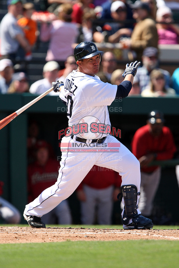 March 5, 2010:  Outfielder Magglio Ordonez of the Detroit Tigers during a Spring Training game at Joker Marchant Stadium in Lakeland, FL.  Photo By Mike Janes/Four Seam Images