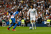 1st October 2017, Santiago Bernabeu, Madrid, Spain; La Liga football, Real Madrid versus Espanyol; Cristiano Ronaldo dos Santos (7) takes on Oscar Melendo (14) Espanyol