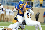 BROOKINGS, SD - SEPTEMBER 24:  Dallas Goedert #86 from South Dakota State University bowls his way over Riggs Baxter #58 from Western Illinois for a touchdown in the first half of their game Saturday evening at Dana J. Dykhouse Stadium in Brookings. (Photo by Dave Eggen/Inertia)