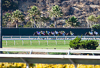 August 26, 2012. Game on Dude and Chantal Sutherland lead the field turning for home in the Pacific Classic(GI) at Del Mar Thoroughbred Club in Del Mar, CA..