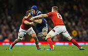 17th March 2018, Principality Stadium, Cardiff, Wales; NatWest Six Nations rugby, Wales versus France; Wenceslas Lauret of France is tackled by Josh Navidi of Wales