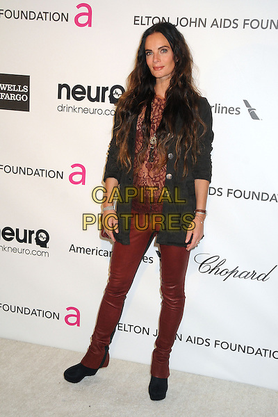 Gabrielle Anwar.21st Annual Elton John Academy Awards Viewing Party held at West Hollywood Park, West Hollywood, California, USA..February 24th, 2013.oscars full length black jacket red maroon lace top leather pants trousers jeans.CAP/ADM/BP.©Byron Purvis/AdMedia/Capital Pictures.