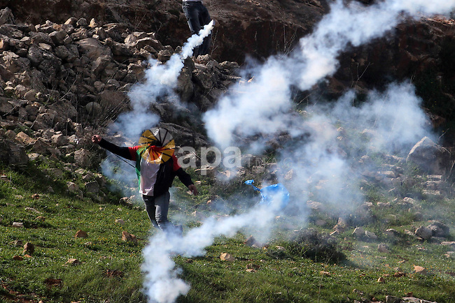 A Palestinian protester throw back a tear gas canister fired by israeli soldiers during clashes in front of Ofer prison, near the West Bank city of Ramallah, following a demonstration in support of Palestinian detainee, Samer Issawi, who has been on hunger strike for more than 200 days, and other prisoners on hunger strike in Israeli prisons on February 15, 2013. A United Nations official on February 13, expressed concern about the wellbeing of Palestinian detainees in Israeli prisons and in particular about the condition of Issawi. Photo by Issam Rimawi